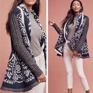 Anthropologie First Snow Navy Gray Sweater